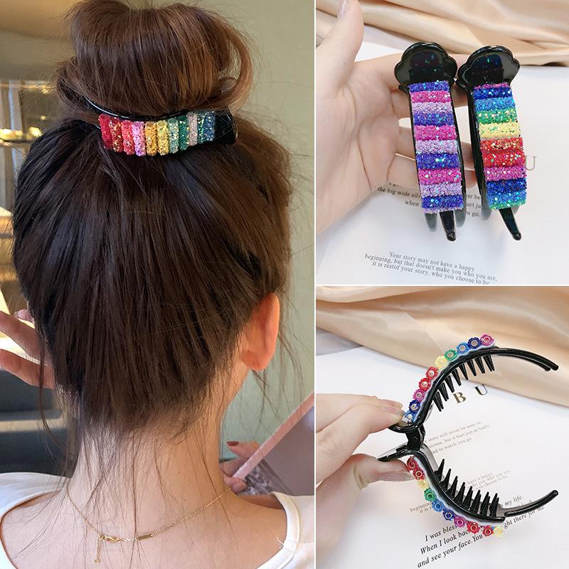彩虹丸子头盘发器泫雅韩式后脑勺珍珠抓夹少女心气质懒人盘头发夹