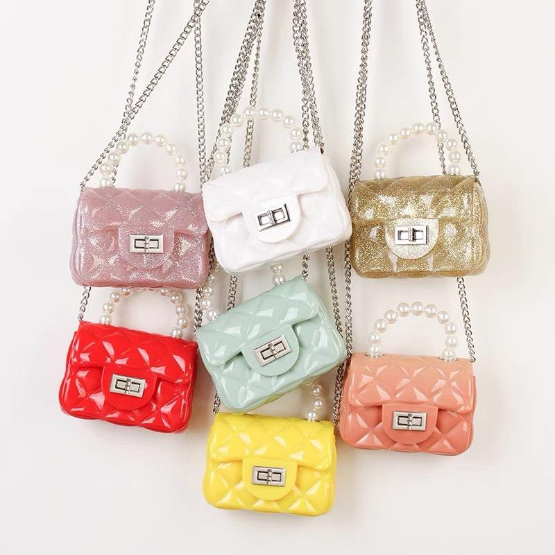 2021爆款菱格果冻包 外贸包包批发厂家定制珍珠手提包 公主抱包