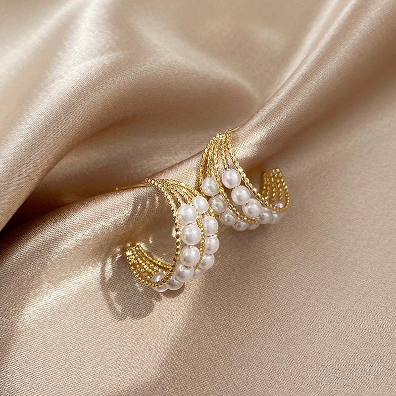 珍珠耳圈气质耳环