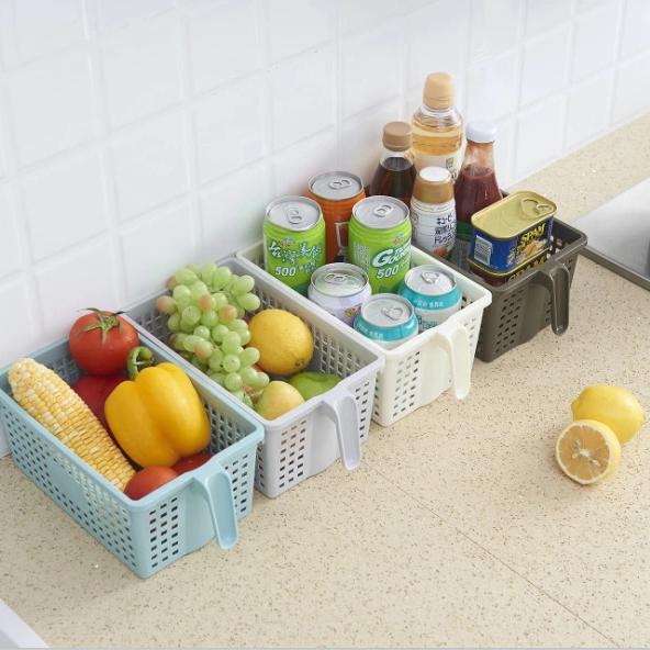 H01-271方形塑料收纳筐带手柄收纳篮厨房浴室置物篮多功能储物篮