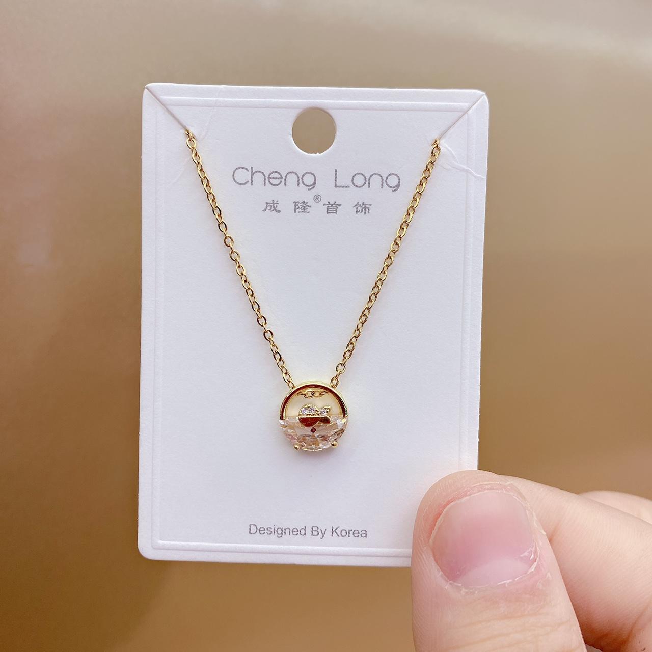 成隆首饰项链2021年新款女钛钢锁骨链轻奢小众设计感短款简约配饰潮防褪色C0999-40