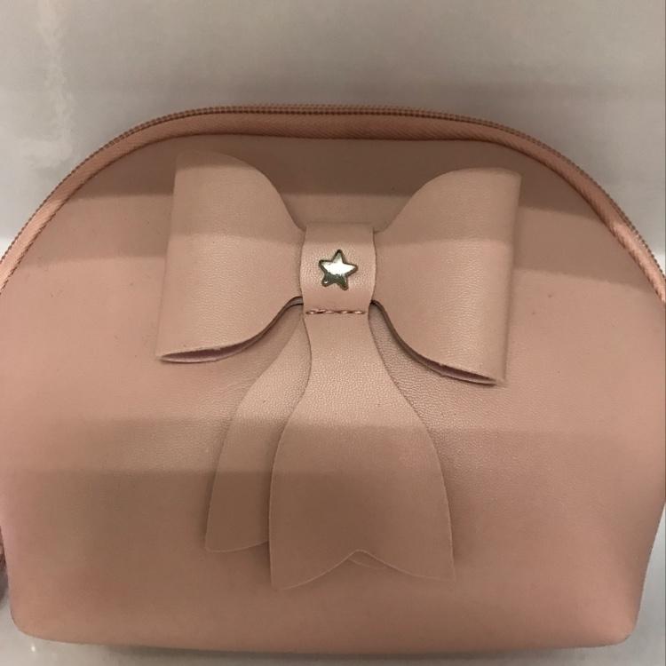 厂家直销粉色蝴蝶结半圆形化妆包