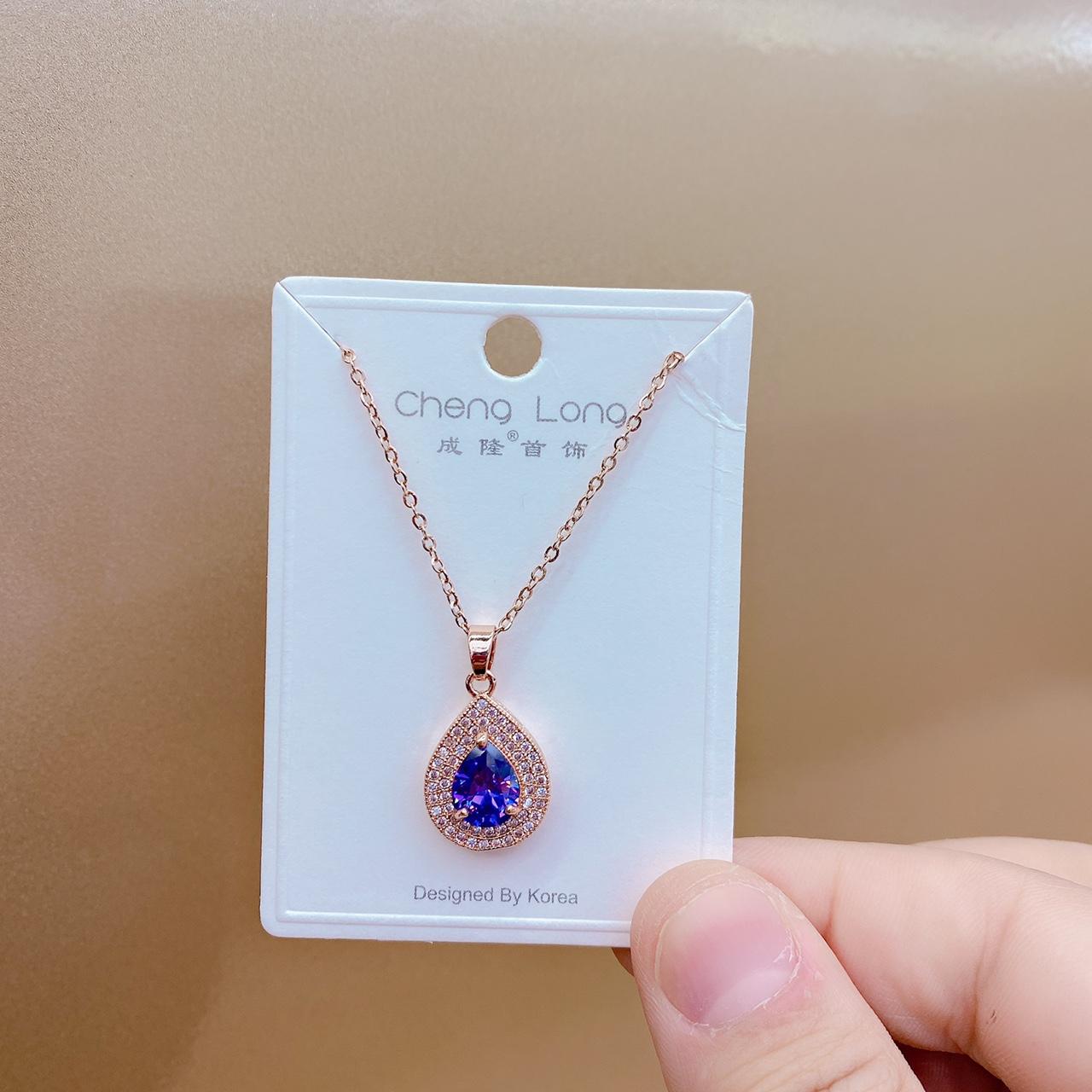 成隆首饰新款天水滴形吊坠纯银女镀玫瑰金特价C0607-45