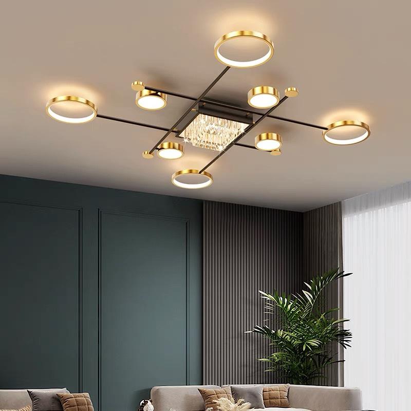 客厅灯现代轻奢水晶吸顶灯饰简约北欧2021年新款全屋灯具套餐组合