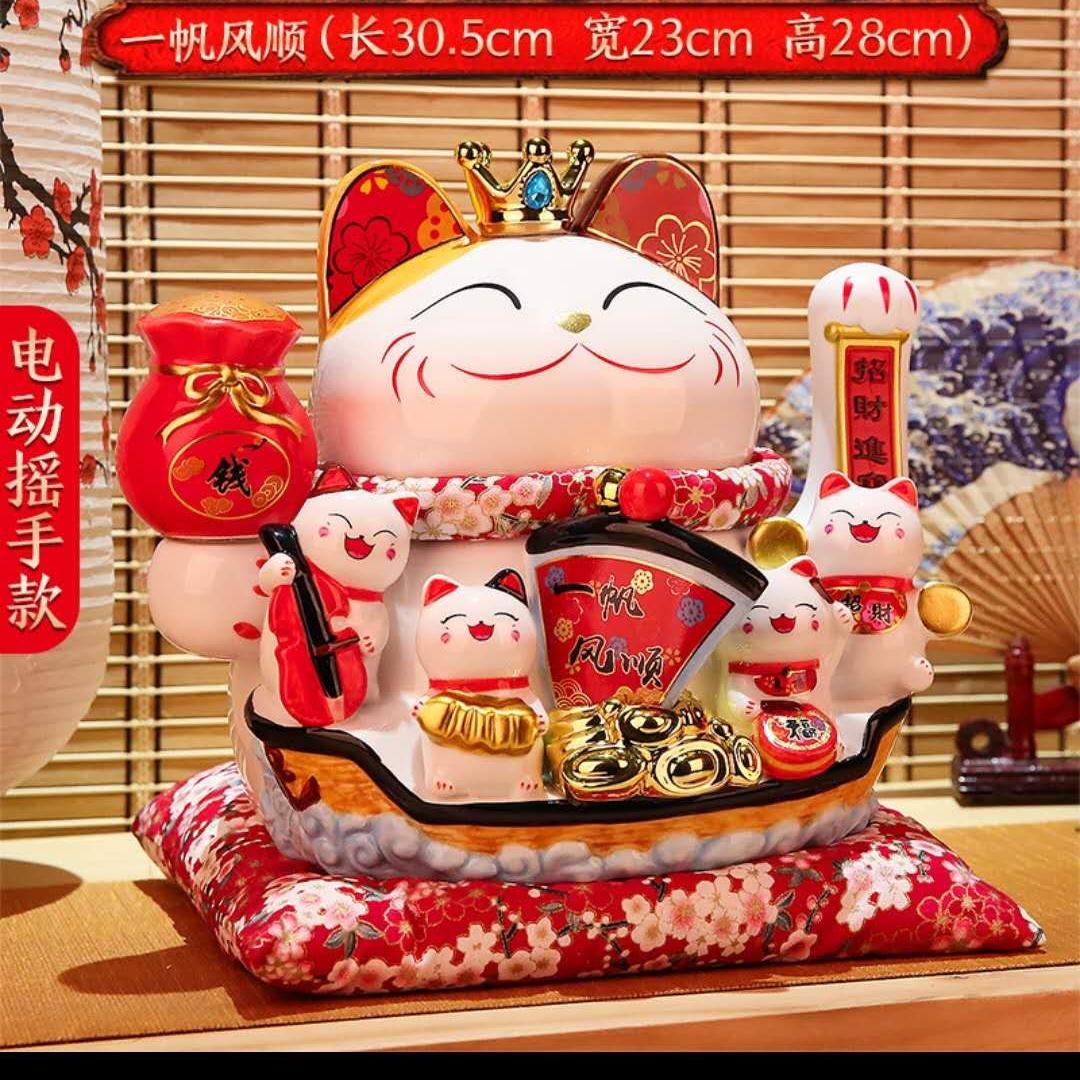 高温陶瓷白色1000度招财猫摆件送礼佳品