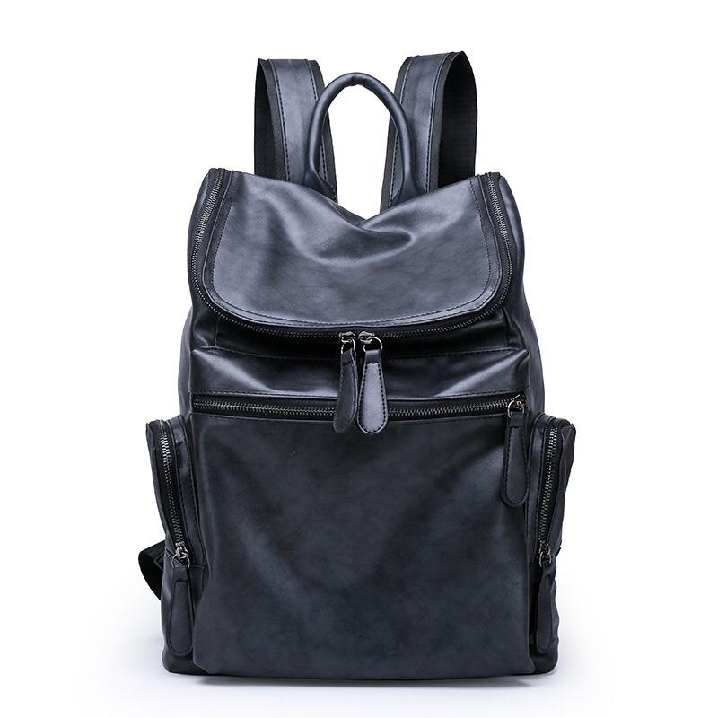 1253新款PU男电脑背包 韩版时尚旅行双肩包 大容量运动书包