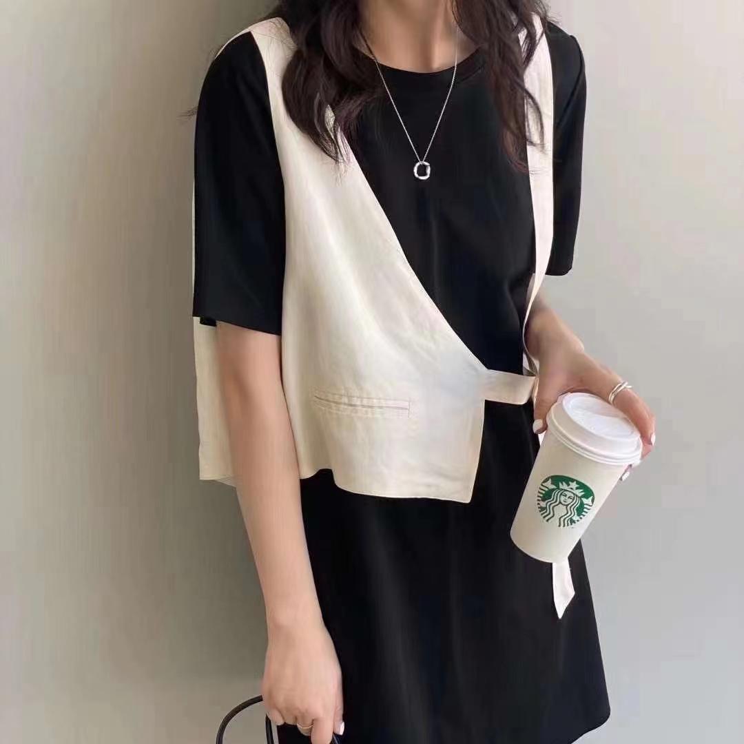 2021夏季新款韩版宽松撞色吊带马甲拼接假两件中长款短袖连衣裙女