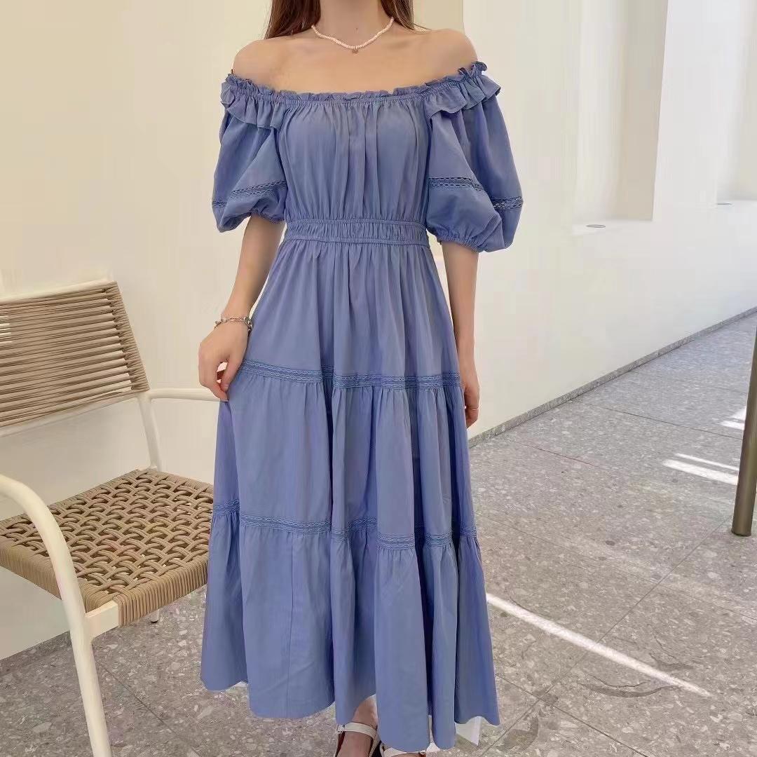 韩国2021夏季赫本风法式镂空拼接木耳边高腰纯色泡泡袖连衣裙长裙