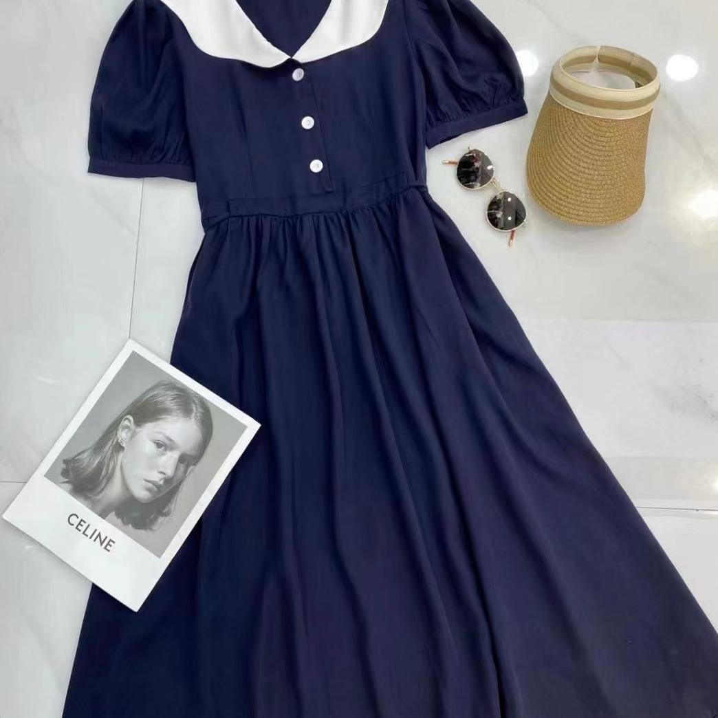 2021夏季新款撞色娃娃领收腰显瘦短袖连衣裙
