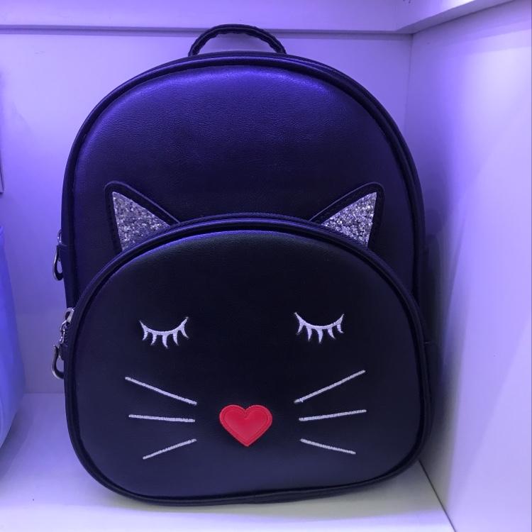 厂家直销现货儿童黑色PU面料爱心鼻子小猫咪休闲小背包