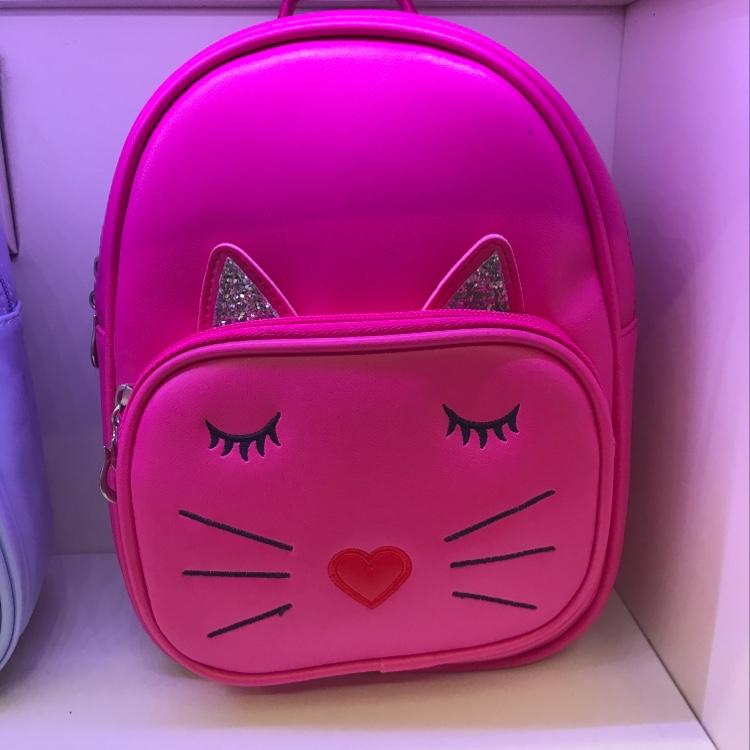 厂家直销现货儿童玫红PU面料爱心鼻子小猫咪休闲小背包