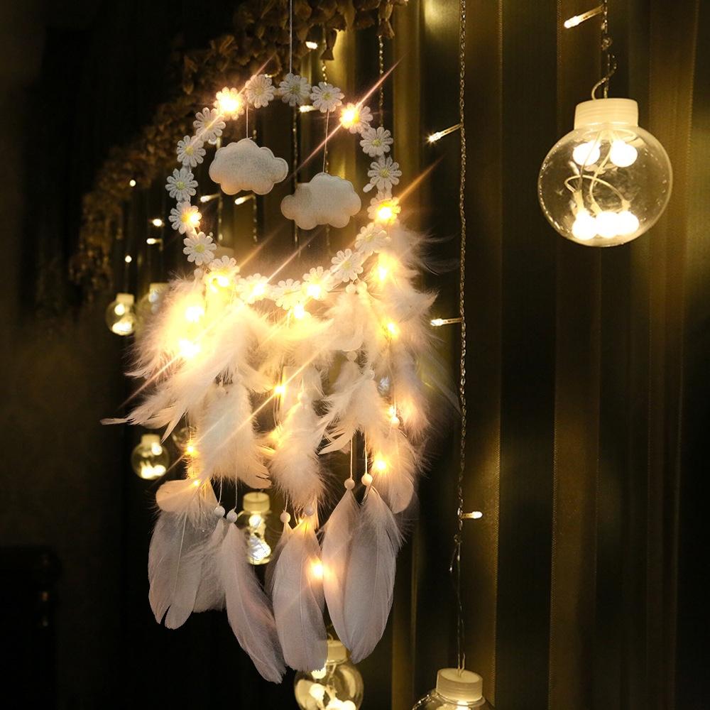 圣诞彩灯捕梦网 创意灯串云朵捕梦网 车载捕梦网 家居彩灯捕梦网白色