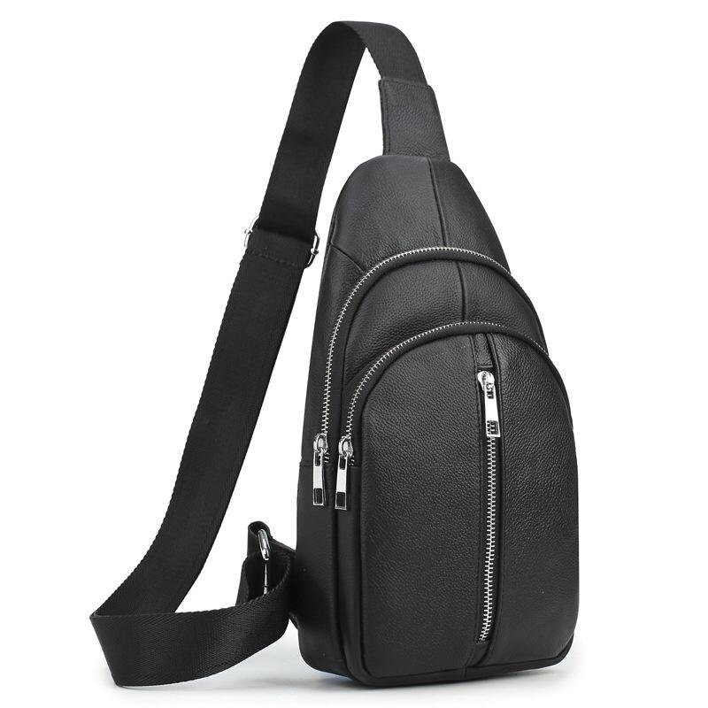 1292新款男包胸包商务休闲油蜡头层牛皮斜跨单肩包户外旅行胸前包