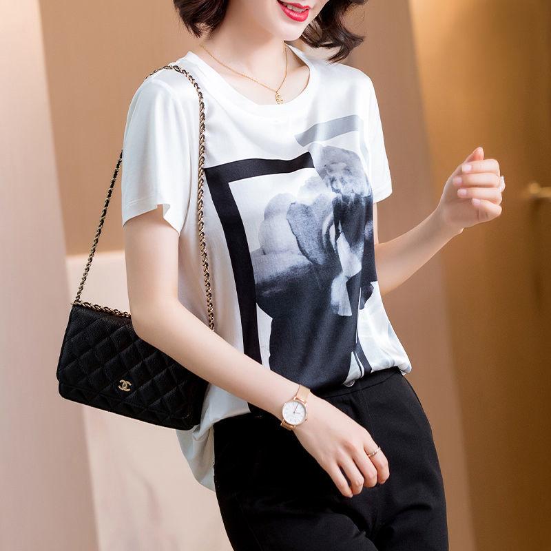真丝T恤女装2021新款夏装小众设计感时尚气质上衣短袖印花衬衫潮15