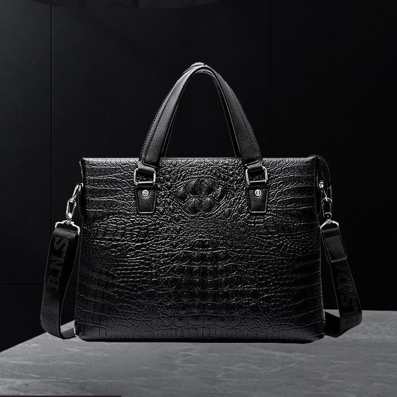 1248邦尼斯袋鼠新款公文包定制鳄鱼纹商务男士皮革手提包时尚电脑包