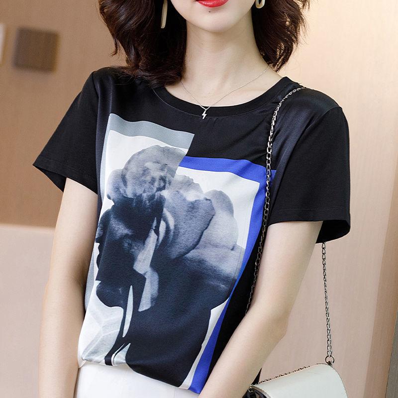 真丝T恤女装2021新款夏装小众设计感时尚气质上衣短袖印花衬衫潮7