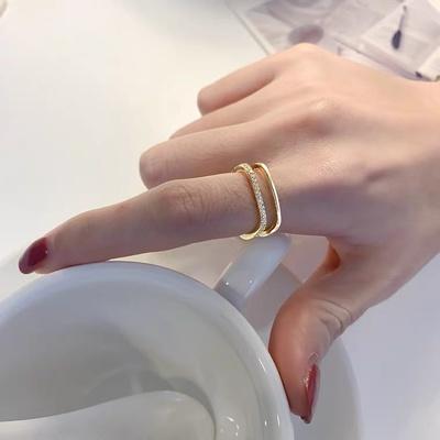 成隆首饰小方戒女素圈方形戒指时尚个性轻奢小众设计精致冷淡风高级指环CL01232-30