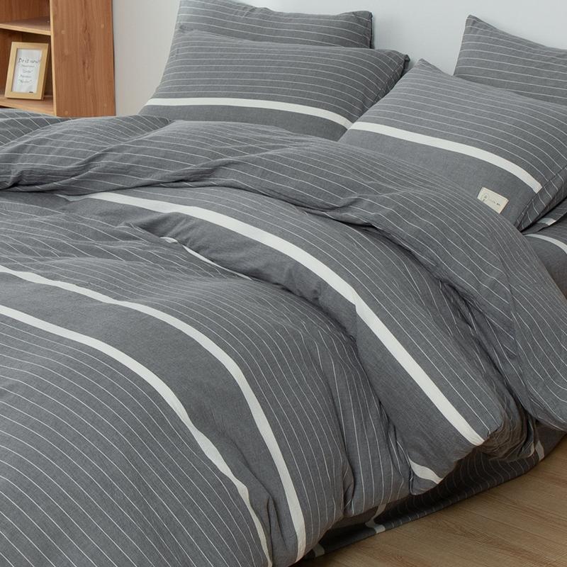 水洗棉四件套纯棉色织被套床单日式简约款
