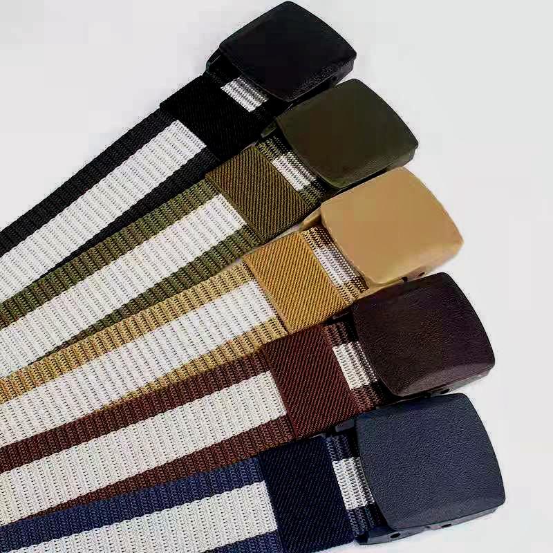腰带男帆布皮带青年学生自动平滑扣防过敏户外尼龙裤带