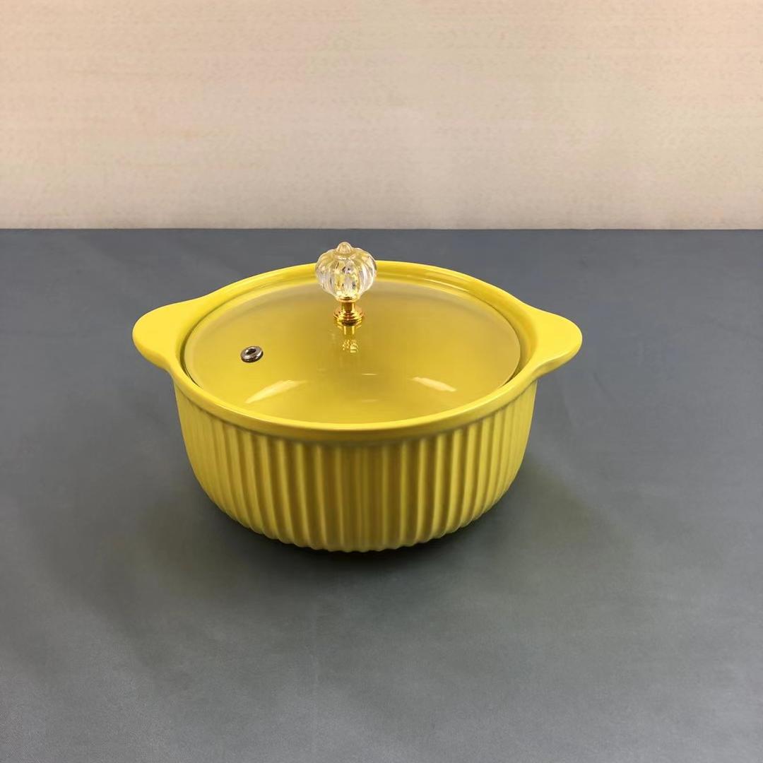陶瓷泡面碗马卡龙色小汤锅可高温微波炉