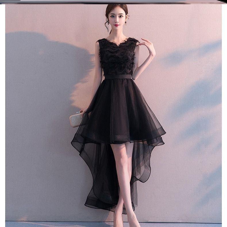 毕业典礼主持人礼服晚会老师教师女高端气质高贵夏季显瘦短连衣裙