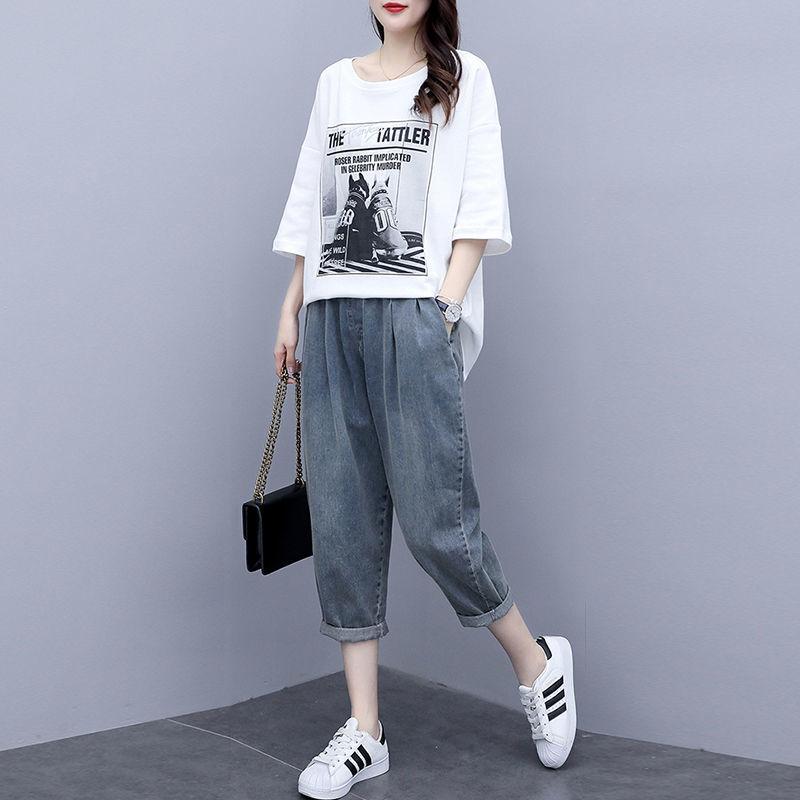 新夏季新款韩版T恤大码女装宽松休闲牛仔裤洋气两件套8