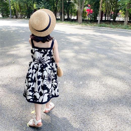 女童连衣裙夏装2021新款儿童涂鸦时尚花朵公主吊带裙宝宝洋气裙子2