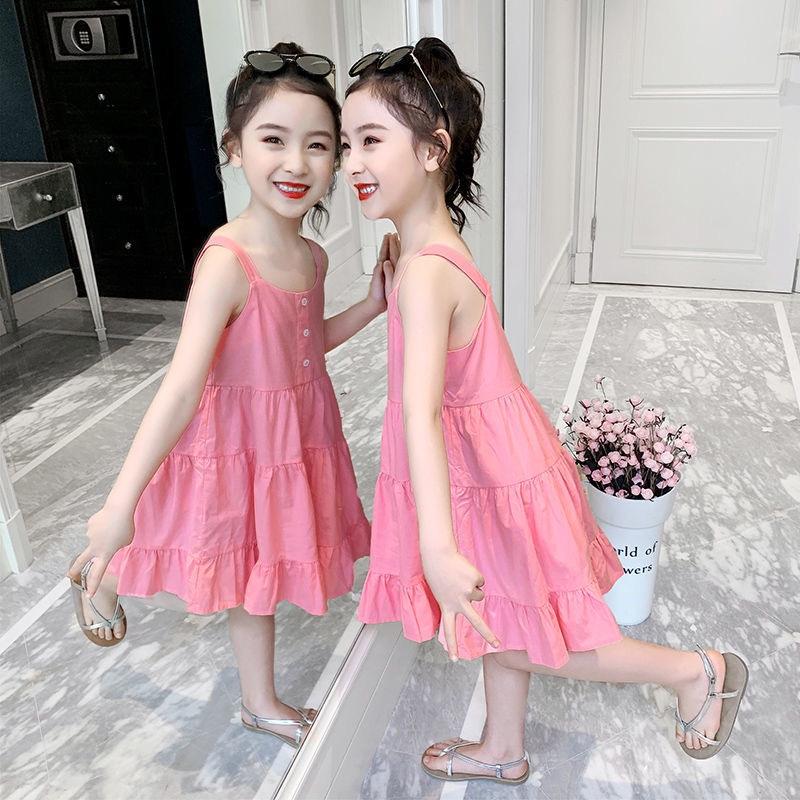 女童夏装2021新款纯棉吊带蛋糕连衣裙洋气中小童网红沙滩大摆裙16