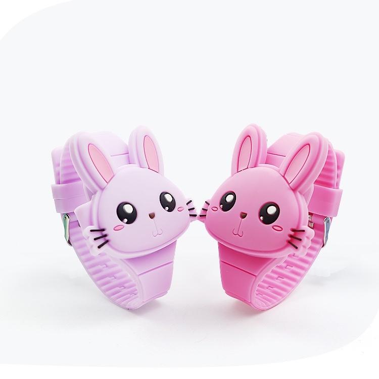 硅胶厂家供应硅胶卡通儿童表LED儿童翻盖兔子电子玩具表