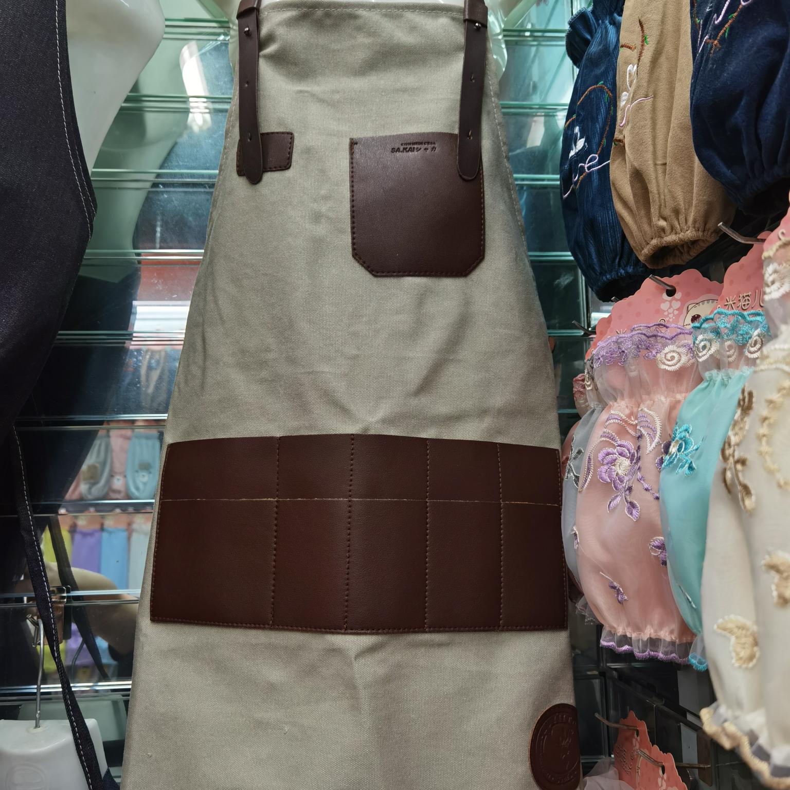 咖啡师韩版成人时尚绘画高档帆布围裙,西餐厅酒吧背带款工作围裙