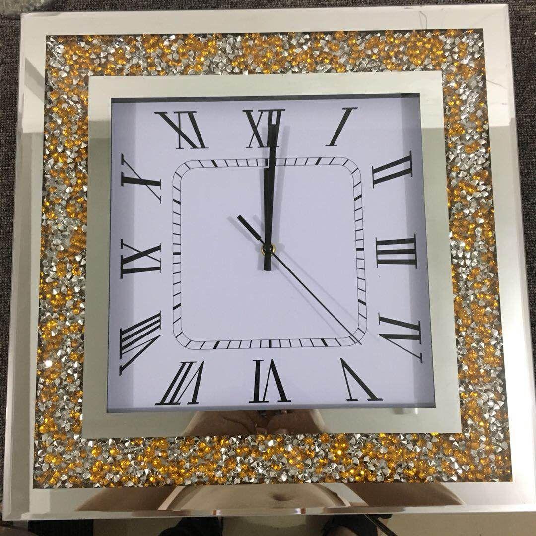 挂钟机芯扫描现代简约金色碎钻石钟表批发