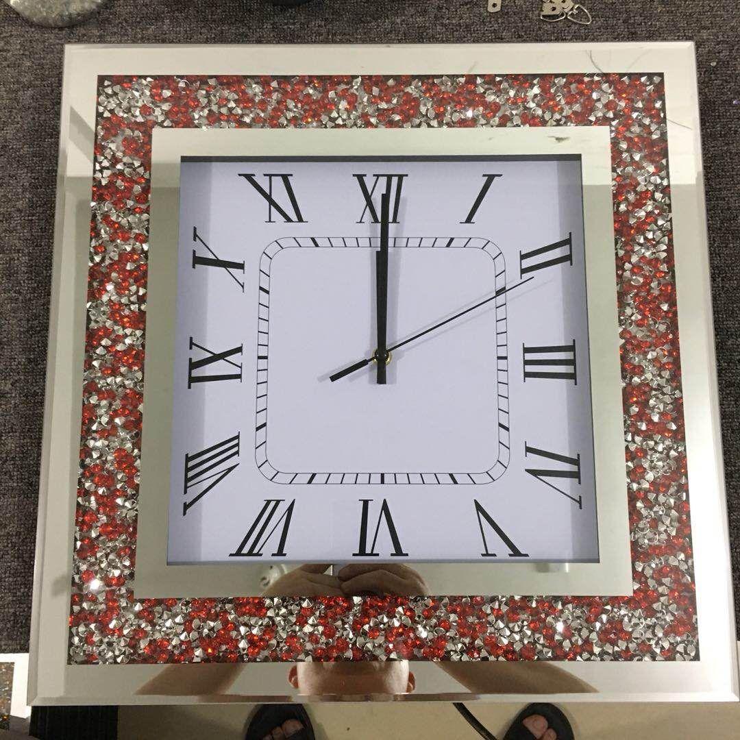 水晶玻璃挂钟方形彩色钻石壁挂钟热卖客厅艺术家用钟表
