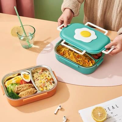 304不锈钢保温饭盒分隔可带汤便携学生上班族1人便当餐盘餐盒套装
