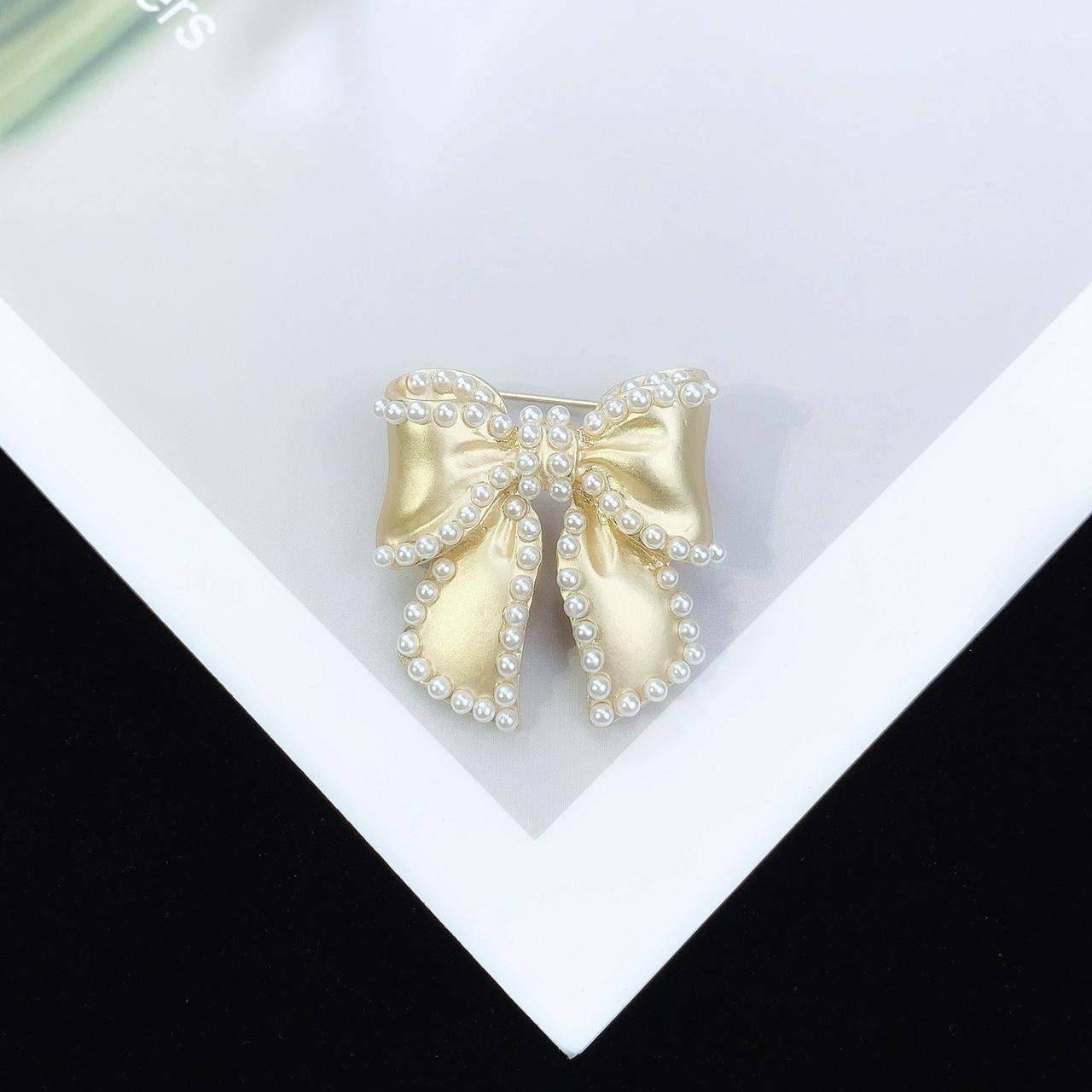 甜美蝴蝶结珍珠胸针优雅女神大衣西装ins超仙少女洋气胸花
