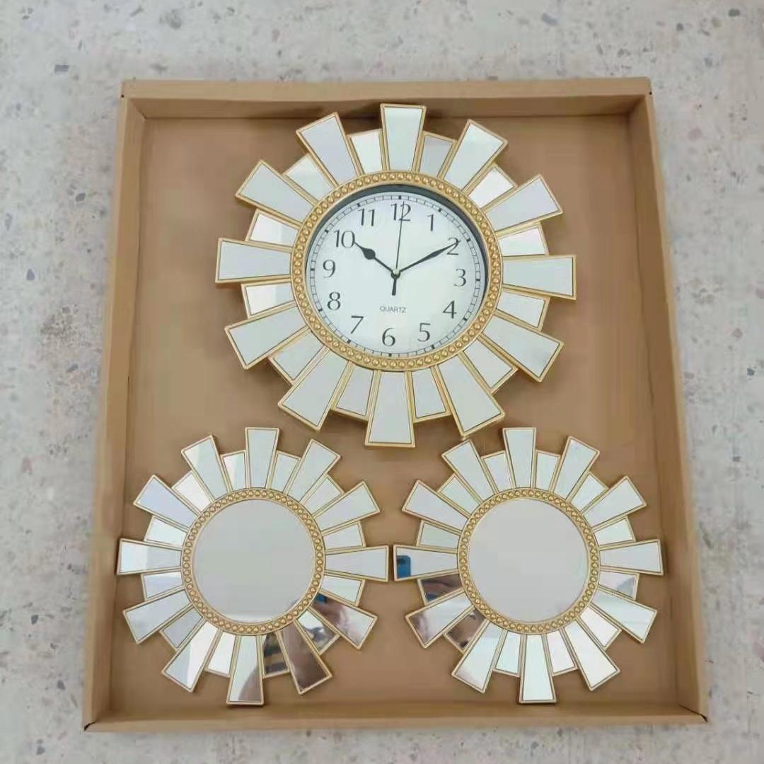 新款三连装镜子挂钟套装