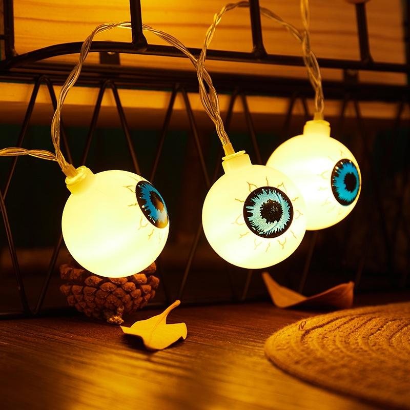 亚马逊跨境新款万圣节搞怪惊悚眼球led鬼节灯串节日装饰灯彩灯3米20灯暖白色电池盒
