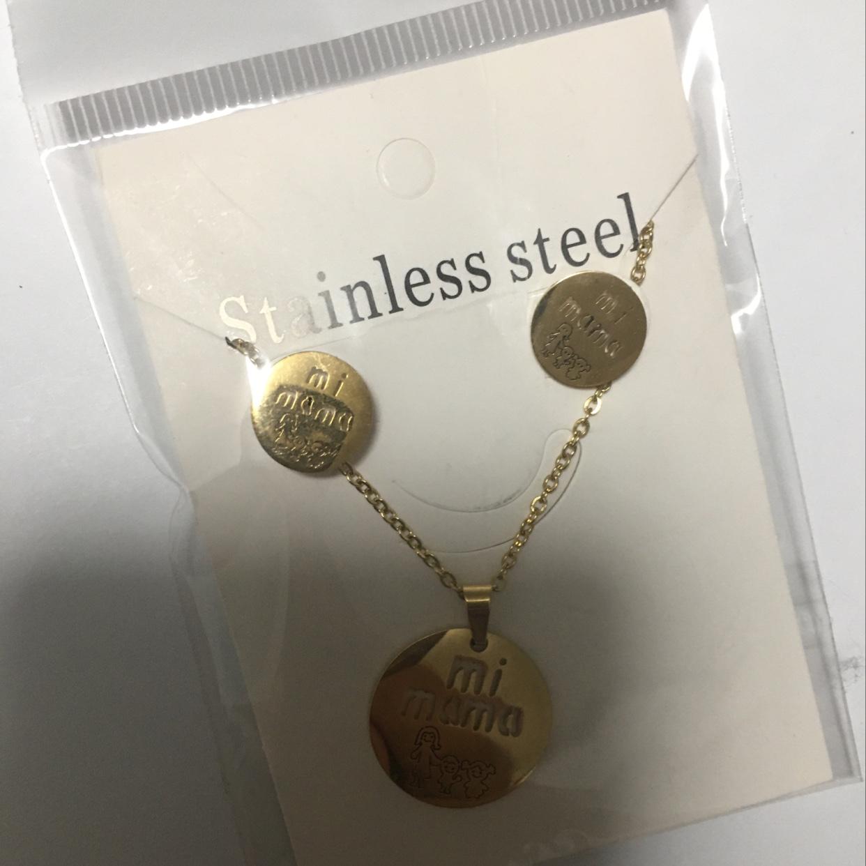 韩版圆形001钛钢项链不锈钢项链不锈钢耳环