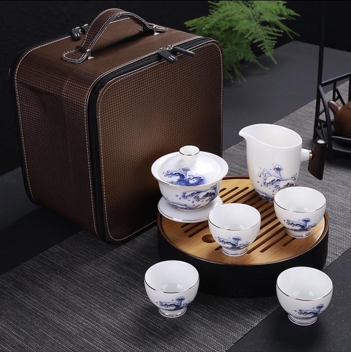 羊脂玉高档旅游茶具
