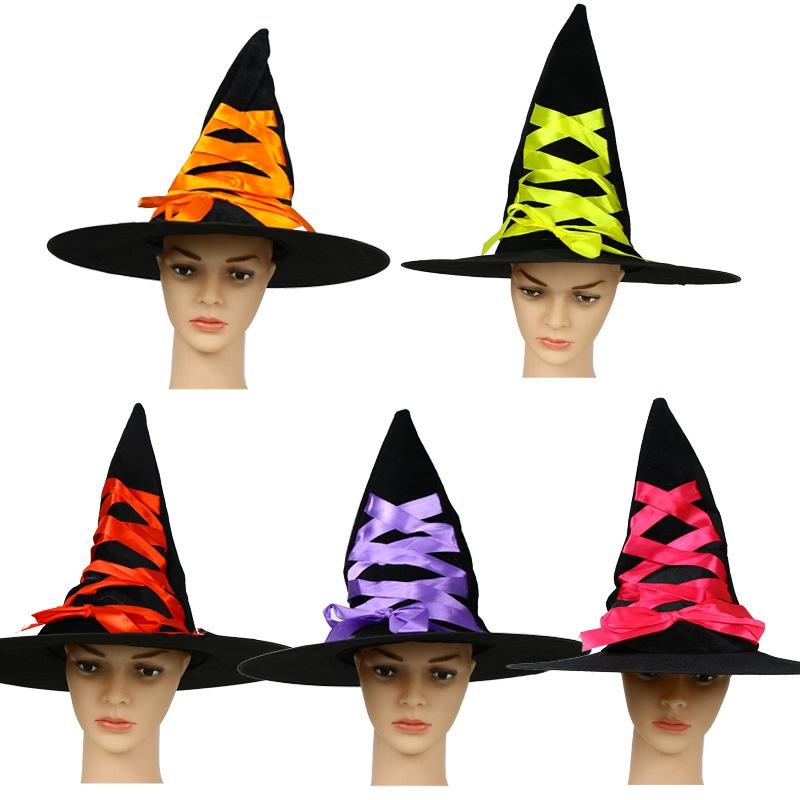 万圣节女巫婆帽子聚会派对舞会表演装饰道具丝带帽儿童角色表演