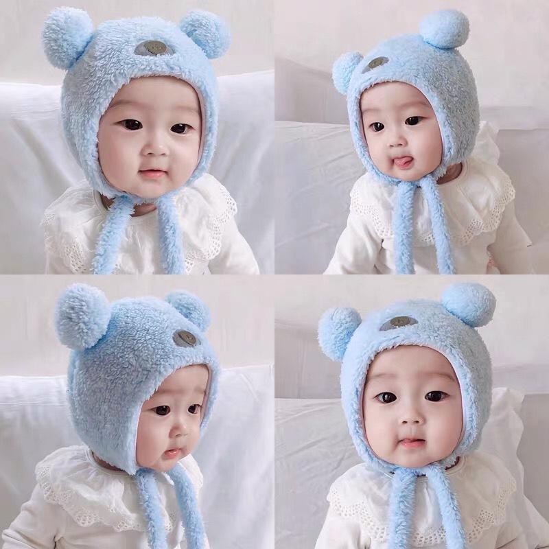 婴幼儿护耳帽子加厚女宝宝纯棉0婴儿秋冬1岁男童超萌2小熊6个月绒