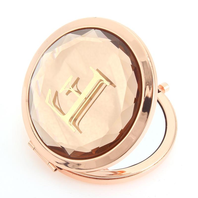 圆形按钮玻璃面字母化妆镜迷你小镜子可来样