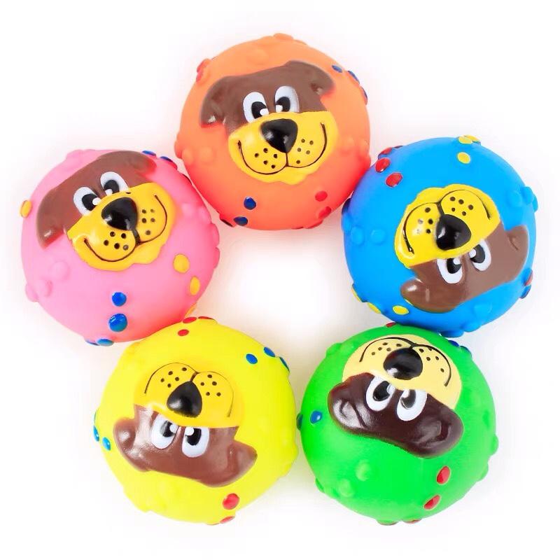搪胶发声狗脸球 皮皮淘多彩宠物训犬玩具球 搪胶宠物球玩具