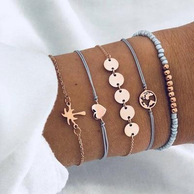 欧美时尚潮流双色珠5件套套装组合手链