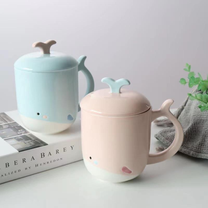 韩版卡通陶瓷杯 创意手绘鲸鱼马克杯 大容量可爱学生水杯子情侣杯