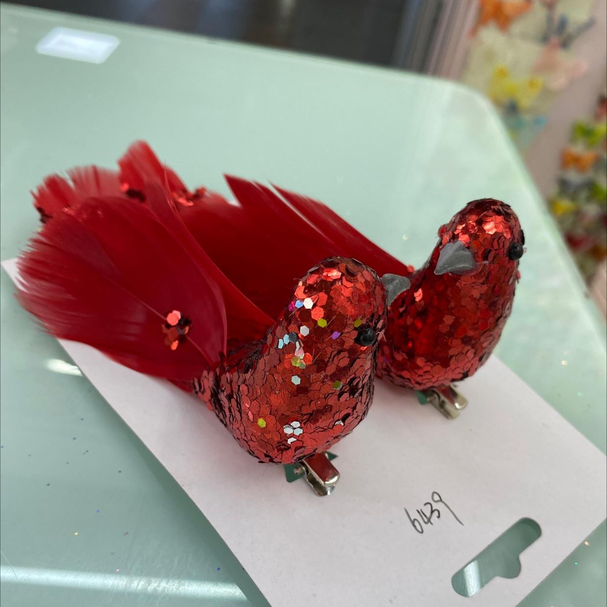 大红色亮片鸟圣诞装饰