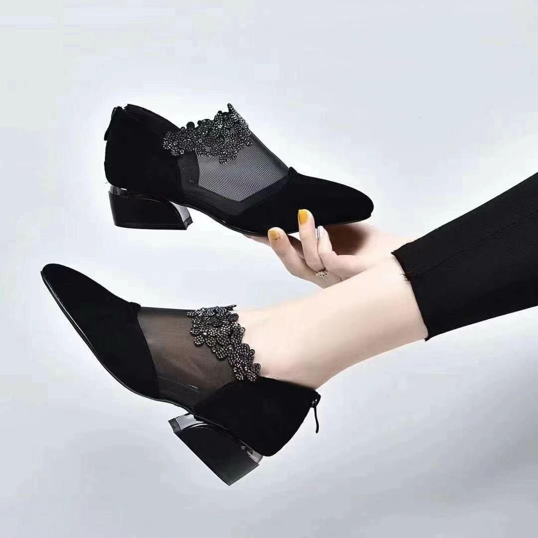 柏育兰网纱透气单鞋羊皮真皮宽松女鞋时尚鞋