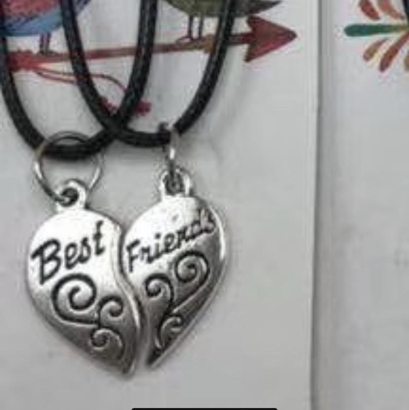 黑色韩国蜡线情侣合心BEST FRIENDS项链5 二元店专供