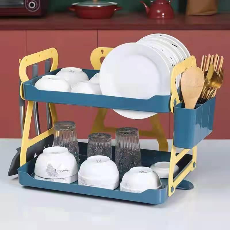 Y05-710双层碗碟收纳架厨房置物架家用双层碗碟沥水架收纳水槽架