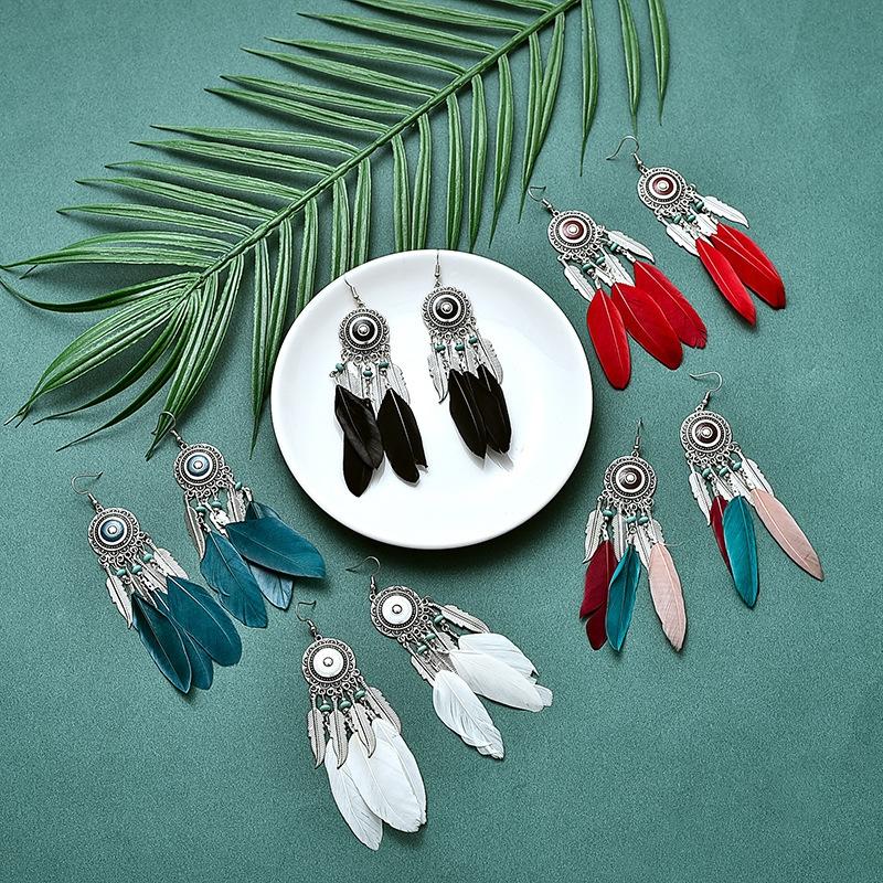 羽毛耳饰,波西米亚风,民族风