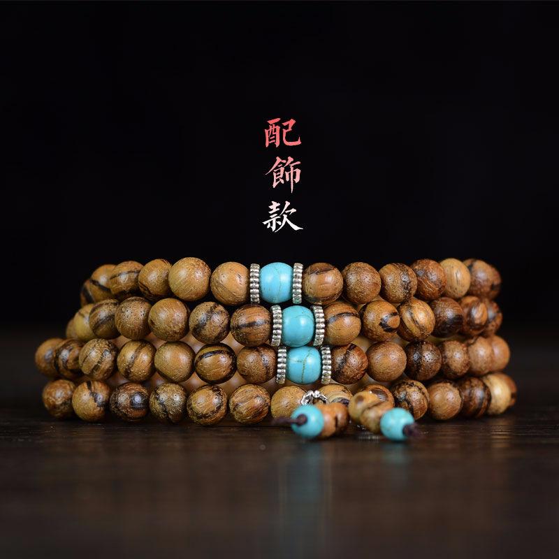 越南沉香手链108颗念珠 香木手串女士毛衣链木质文玩饰品佛珠厂家